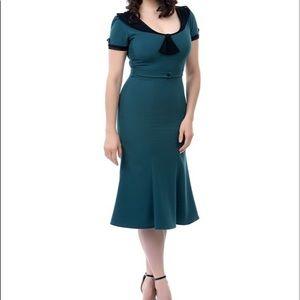 Stop Staring Green Vintage Style Midi Dress Sz S
